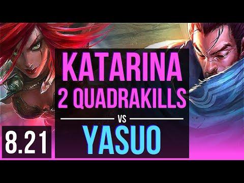 KATARINA vs YASUO (MID) | 2 Quadrakills, KDA 21/2/12, 2 early solo kills | TR Challenger | v8.21
