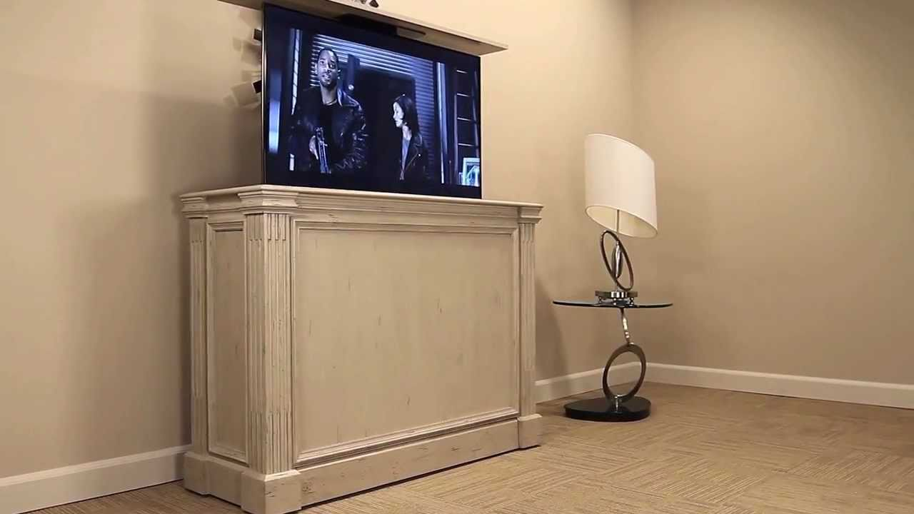 ritz camden white tv lift cabinet youtube. Black Bedroom Furniture Sets. Home Design Ideas