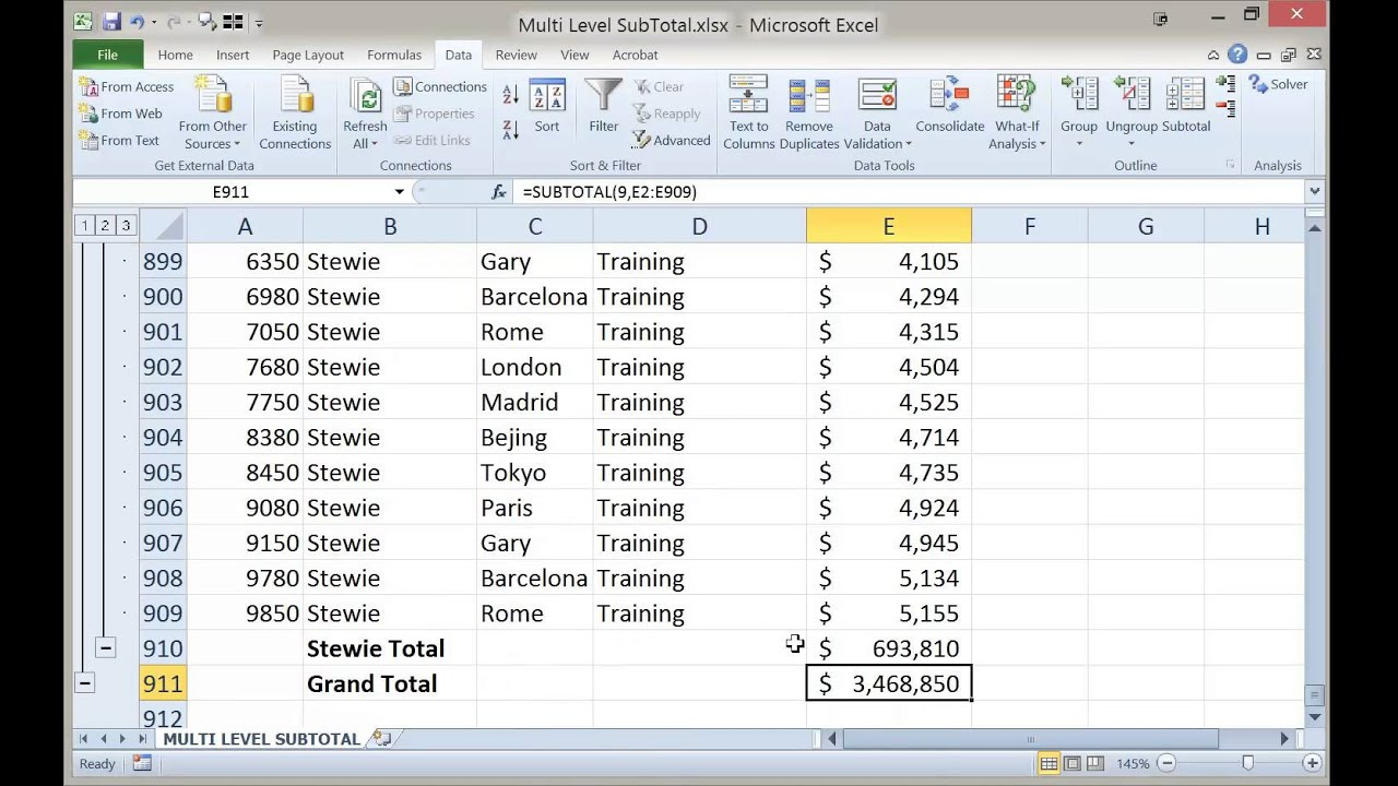 how to get total in excel