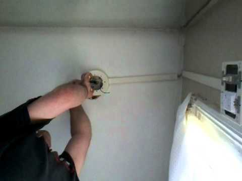 Wiring light and red black white wires to box for switch gfi - YouTube