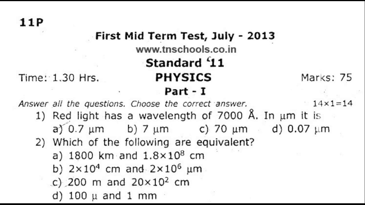 11th standard first midterm question paper | Physics |2013| English Medium