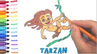 How to Draw Tarzan 2 with Coloring (slow) | Coloring Book | Kids Channel
