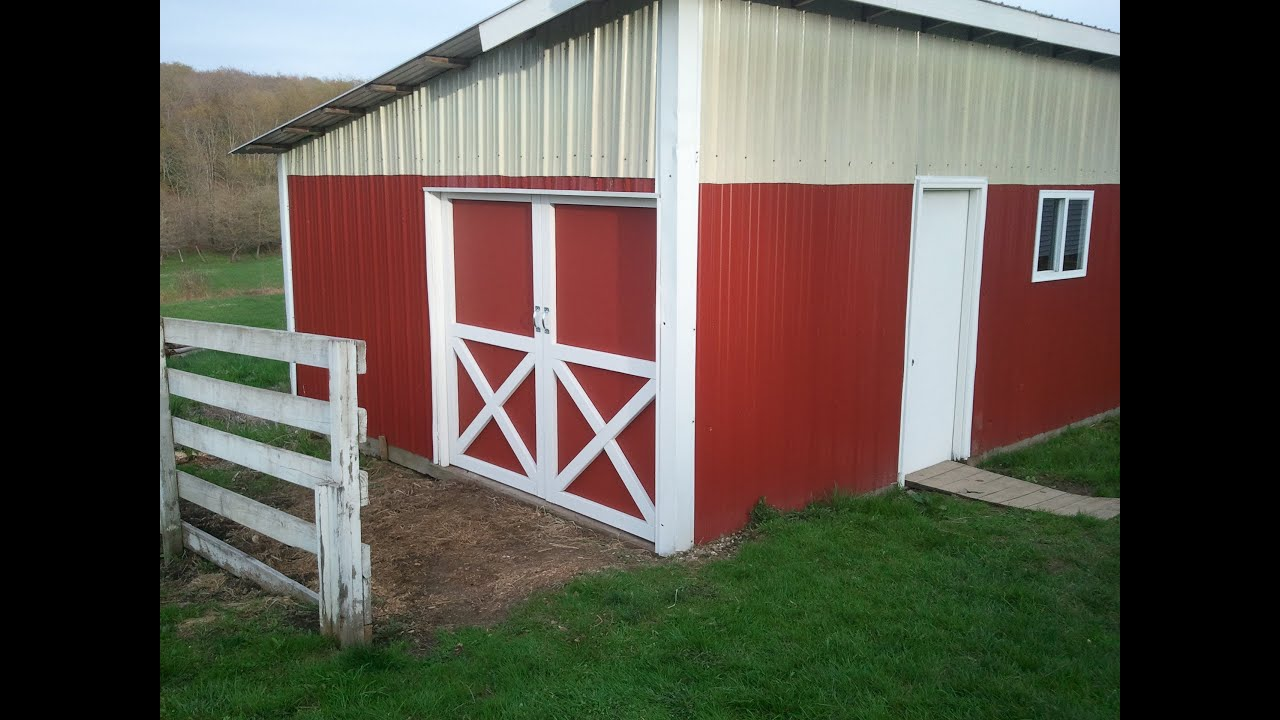 "Building red barn doors with the ""X"" in them"
