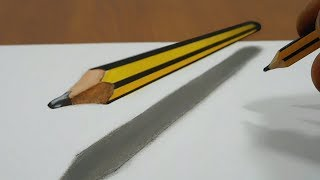 3D Trick Art On Line Paper, Floating Pencil