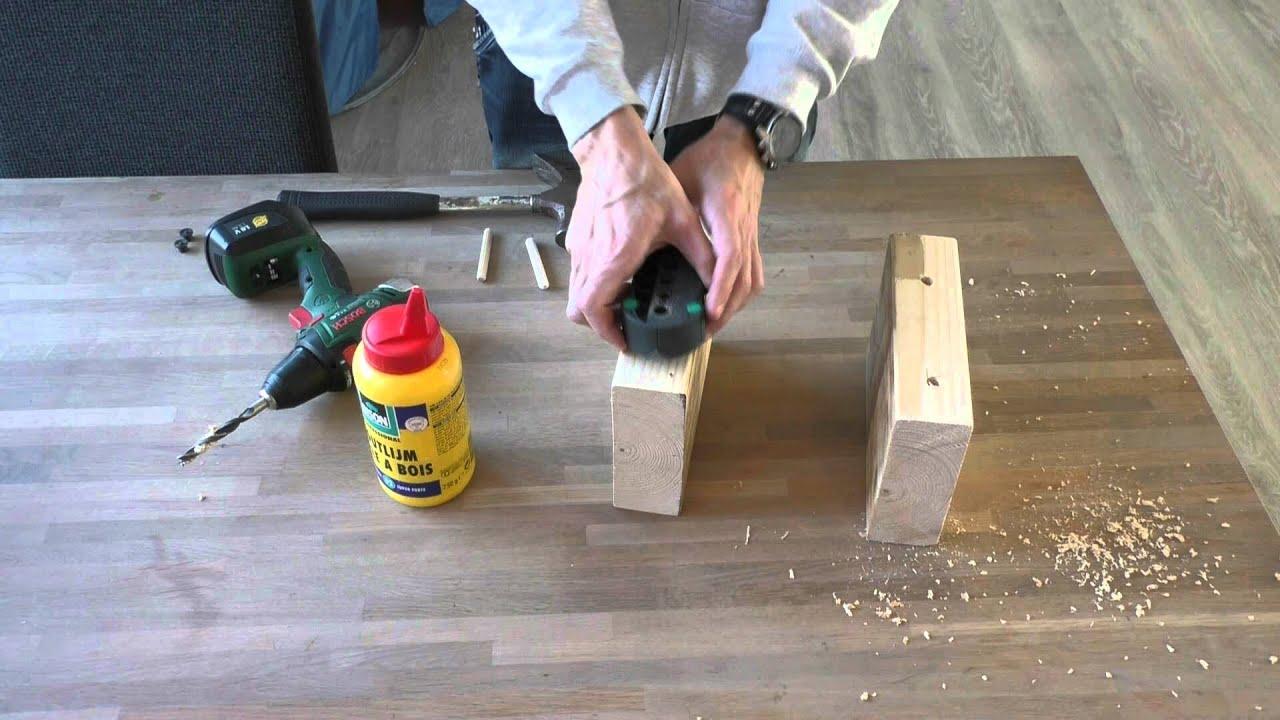 Zelf een tafelblad maken van balken youtube for Tafelblad steigerhout maken