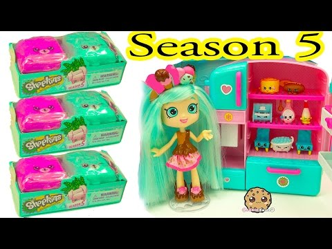 Unboxing Season 5 Shopkins Surprise Blind Bags With Peppa Mint Shoppies Doll - Cookieswirlc
