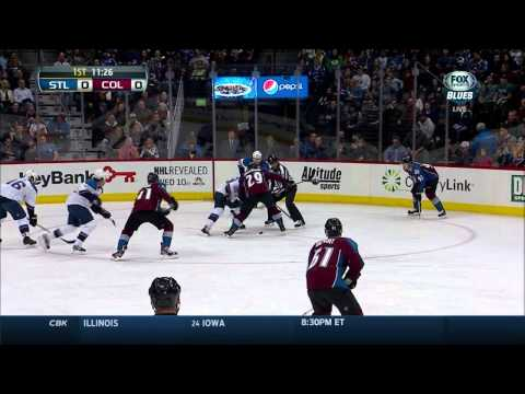 Ryan O'Reilly alone on Ryan Miller St. Louis Blues vs Colorado Avalanche 3/8/14 NHL Hockey.