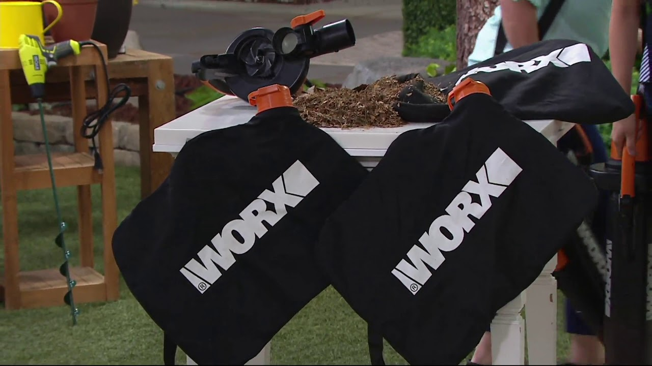 Worx Trivac Er Vacuum Mulcher With 2 Leaf Bags On Qvc