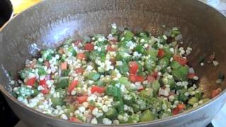 Soul Food - Okra Succotash ( Okra Corn Tomatoes And Shrimp)