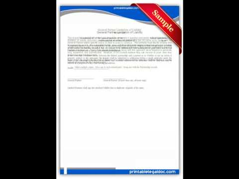 Free printable General Partner Limitation of Liability Forms