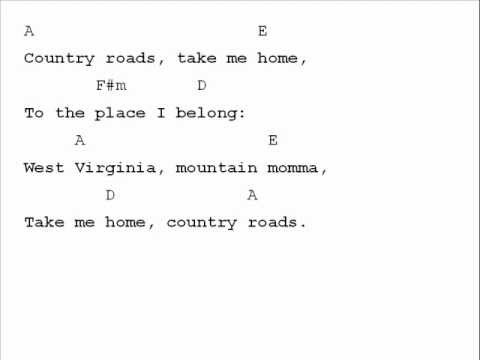 John Denver Country Roads Chord Chart Youtube