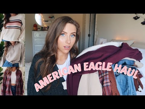 AMERICAN EAGLE FALL TRY ON HAUL | JEANS, SWEATERS, FLANNELS & MORE!