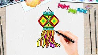 How to Draw a Diwali Kandil / Lantern | Paint For Kidz