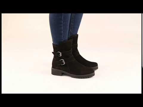 d067c3148c52f Gabor Shiraz Black Oil Nubuck Biker Boots - YouTube
