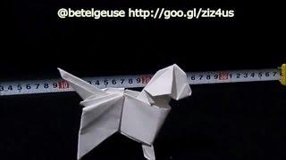 Origami Dog - Loose Leaf Paper Origami 折り紙 犬 足付き三方(さんぽう) から