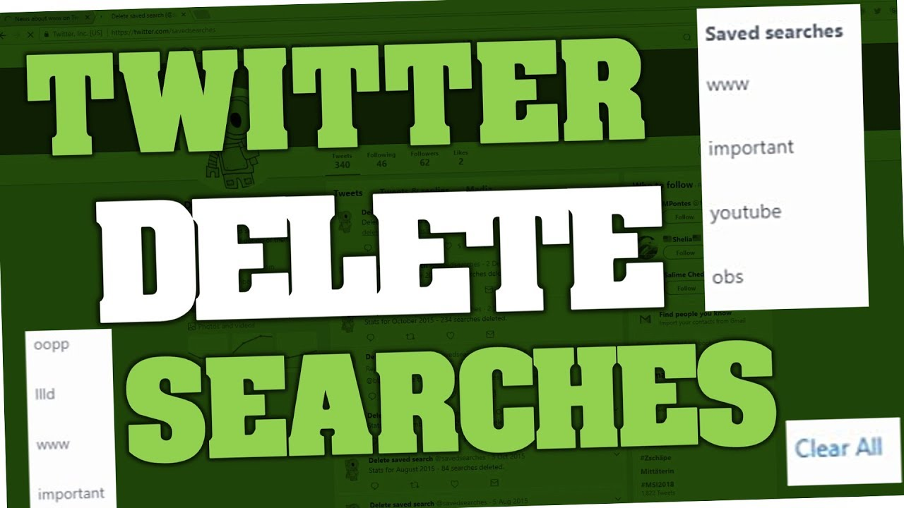 How to delete saved searches & history on Twitter 2018 (PC & Android App)