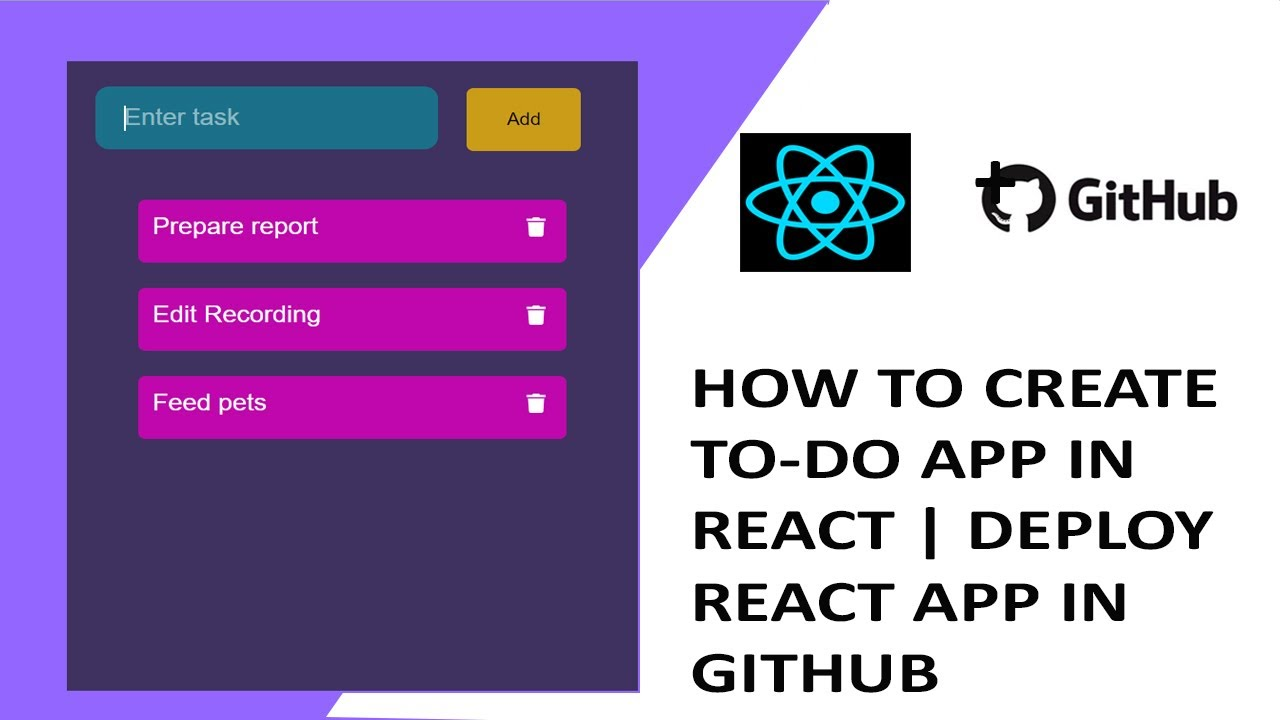 To Do App in React (Adding, Editing and Deleting items) | Deploy in Github