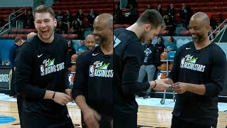 Luka Doncic wins money with a half court SPLASH at Rising Stars Practice