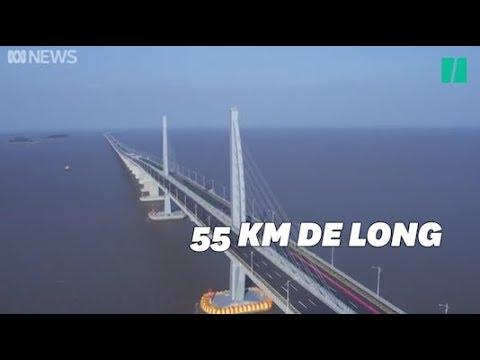 Les images du plus grand pont maritime au monde, inauguré en Chine