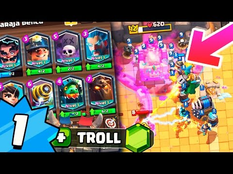 LEVEL 1 WITH ALL LEGENDARIES DESTROYING IN ARENA 2!! INVINCIBLE DECK OF CLASH ROYALE