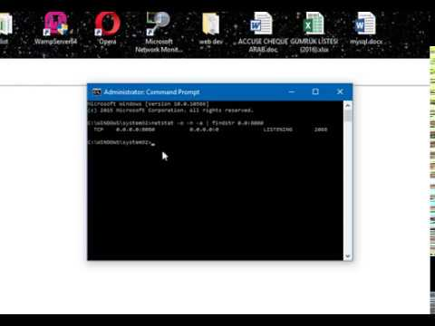 In Windows what can look for port 8080 and try to kill the process it is  using through CMD