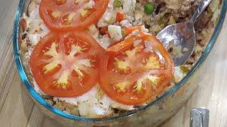 Судак в духовке с овощами и рисом