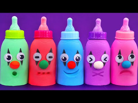 Learn 5 Colors Kinetic Sand in Baby Milk Bottle with Children Songs | Surprise Eggs