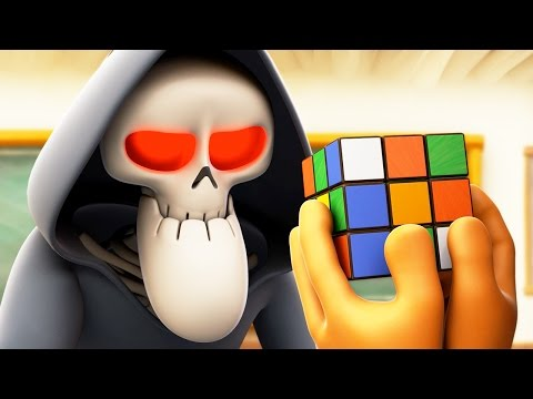 Funny Animated Cartoon   Spookiz Skeleton Teacher Completes Rubiks Cube 스푸키즈   Cartoon for Children