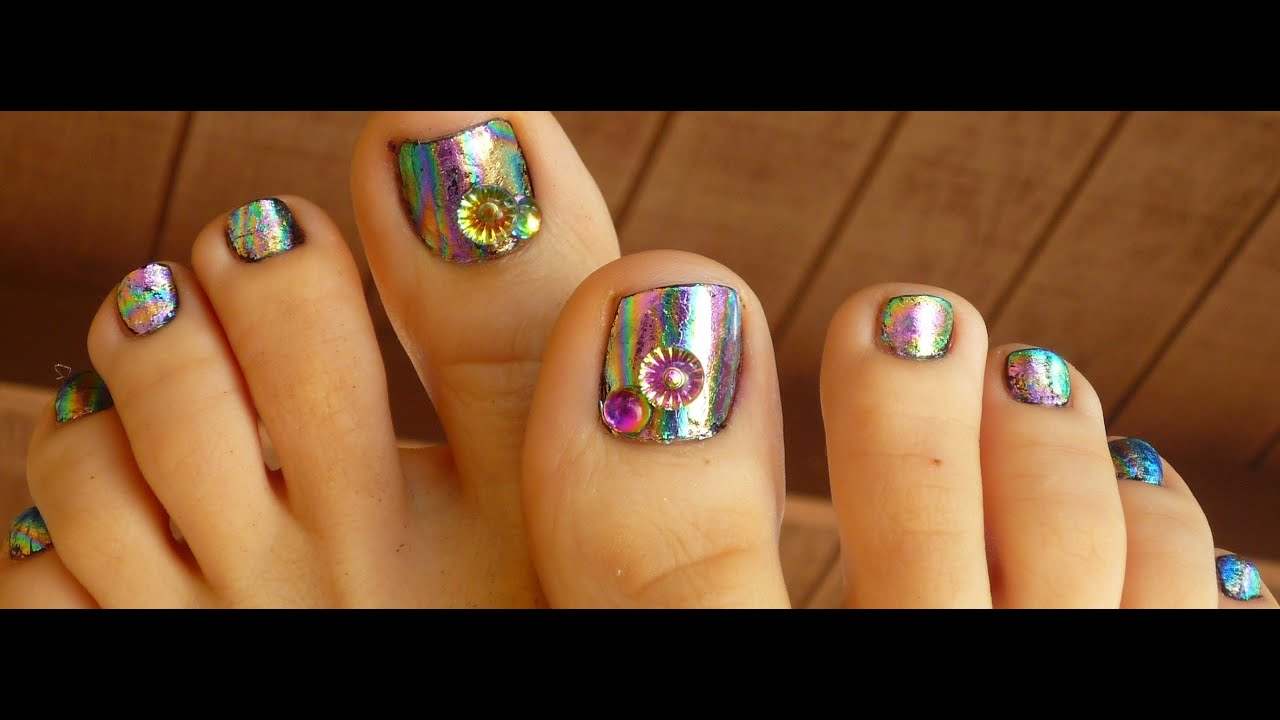 Foils on toes nail design youtube prinsesfo Images
