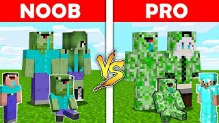 Minecraft Battle: ZOMBIE FAMILY VS CREEPER FAMILY - NOOB vs PRO in Minecraft ! Animation