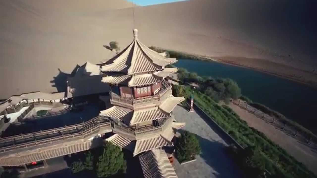 Aerial Photography Video In Crescent Lake Dunhuang Gansu Province