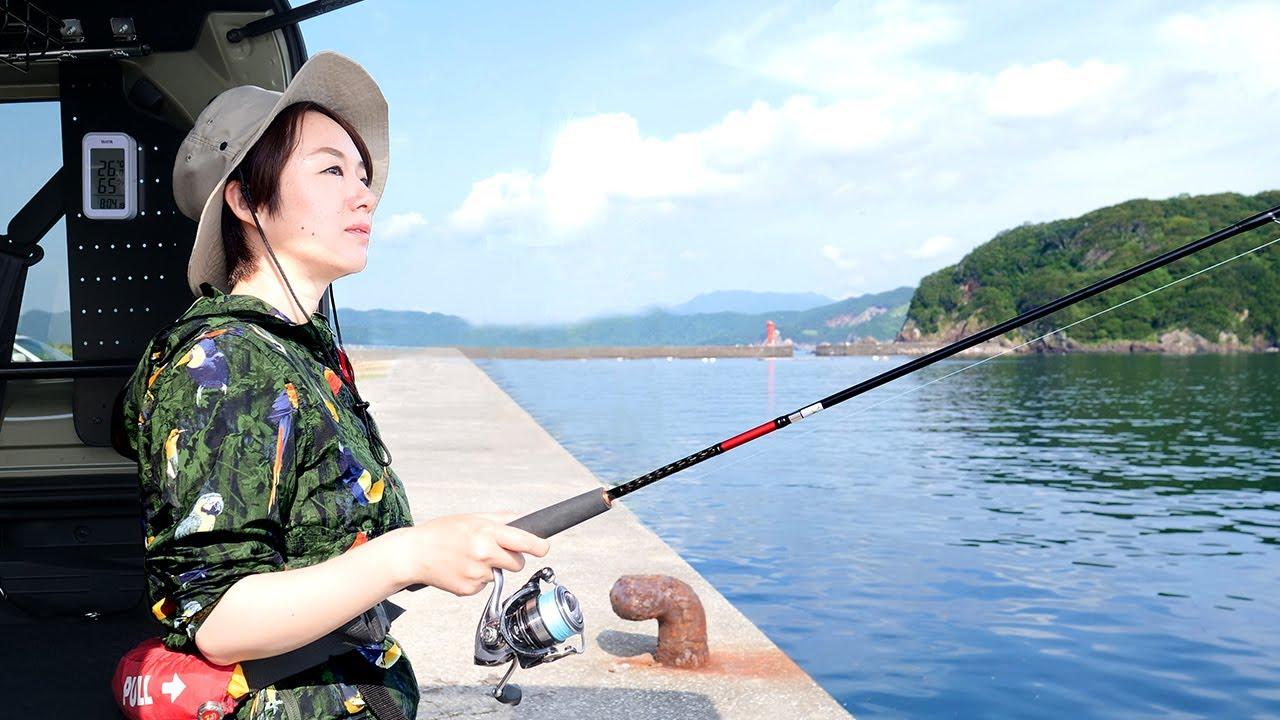 【釣り車中泊】アオリイカの刺身を食べたくて2泊3日(前編)【N-VAN女子旅】