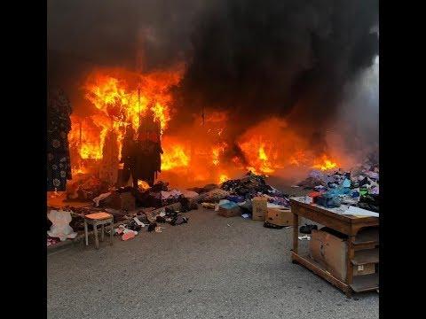 Жесткий пожар на центральном рынке Геленджика 10.09.2019