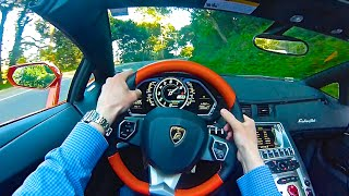 Awesome Lamborghini Aventador Roadster POV Drive and Incredible Exhaust Sound!