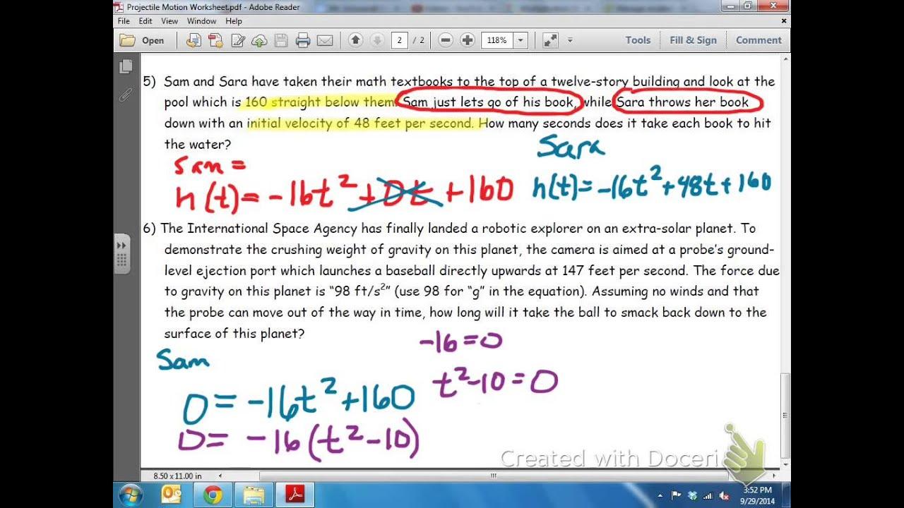Common Core Math Projectile Motion Quadratic Equation Youtube