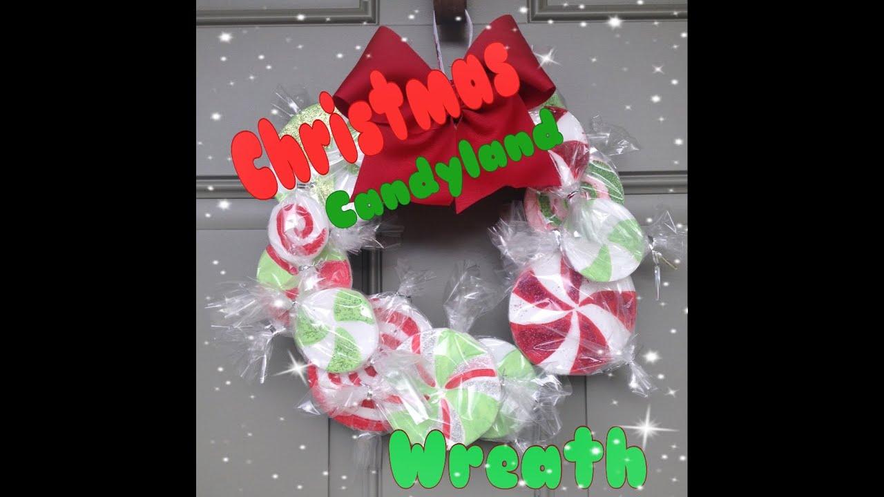 diy christmas candyland wreath youtube - Candyland Christmas Tree Decorations