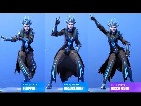 ice queen showcase with all fortnite dances fortnite season 7 - fortnite headbanger gif