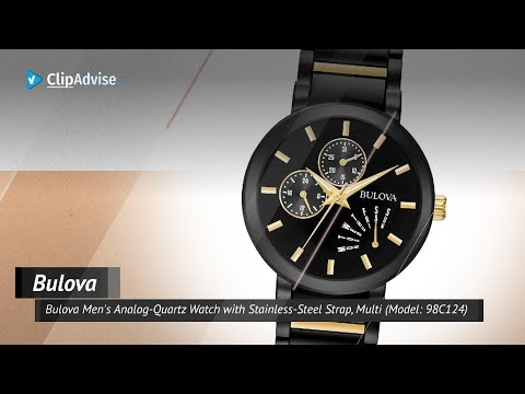 Bulova Men's Analog-Quartz Watch With Stainless-Steel Strap, Multi (Model: 98C124)