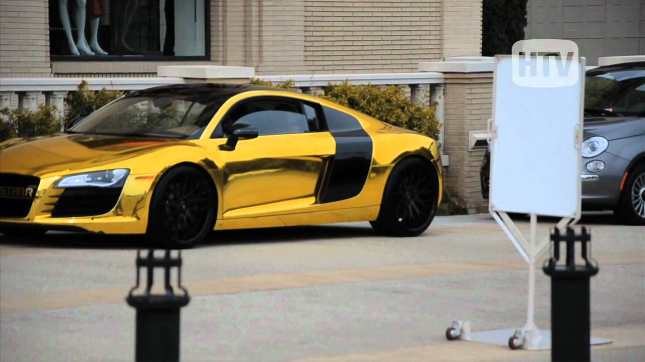 Audi R8 Metalli Gold Tyga Swags In Beverly Hills With