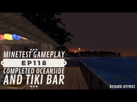 Minetest Gameplay EP118 Completed Oceanside area and New Tiki Bar