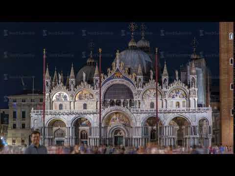 Basilica of St Mark night timelapse. It is cathedral church of Roman Catholic Archdiocese of Venice