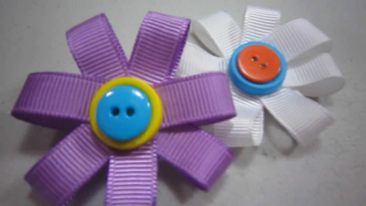 Episodio 519-Cómo hacer una flor de cinta de gro broche estilo 1 ...