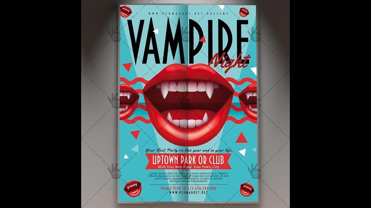 Vampire Night Halloween Flyer Psd Template Youtube
