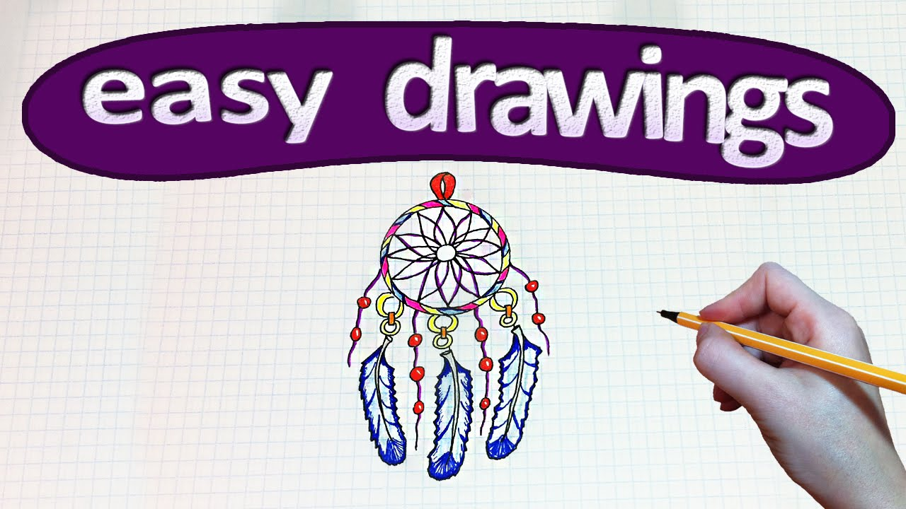 how to draw dream catcher easy