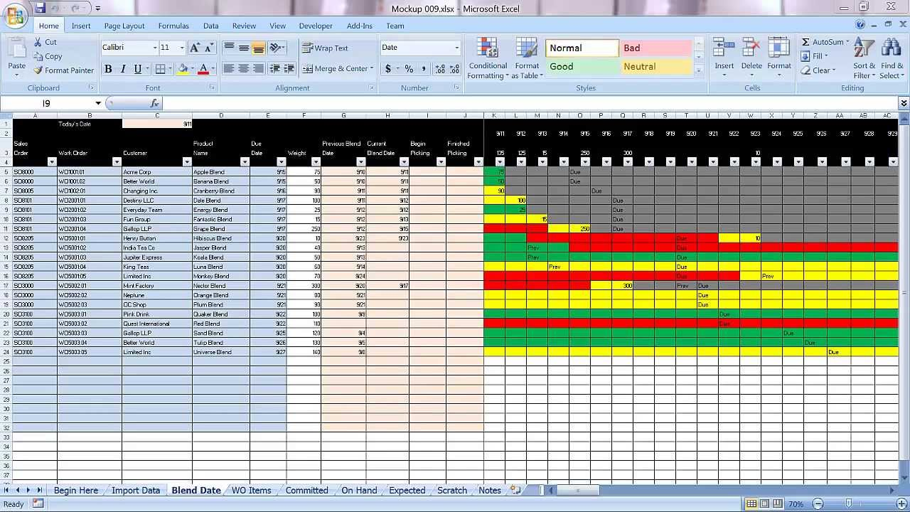 Excel Graphical Production Planning And Control Planner