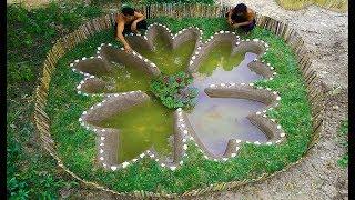 Build Stone Flower Fish Pond