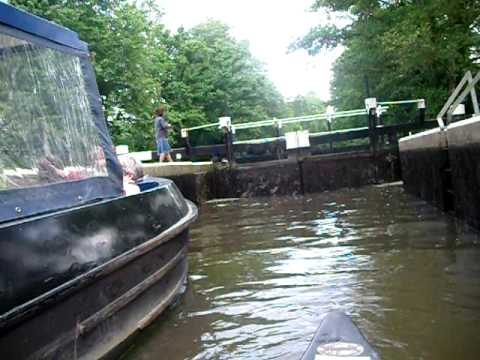 Going through a lock on the River Wey (Godalming Navigation)