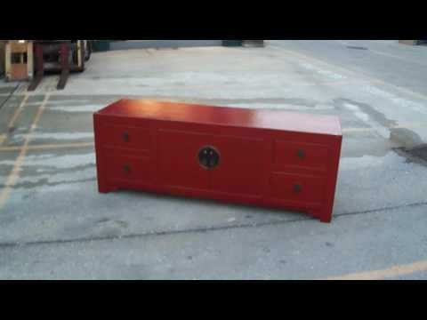Red Chinese Low TV Entertainment Stand Cabinet WK1368m