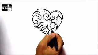 How To Draw Sisters Heart - Tribal Tattoo Design Style Amazing
