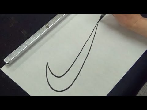 How to write Nike's Famous Swoosh Logo with brush pen   Amazing Calligraphy Drawing